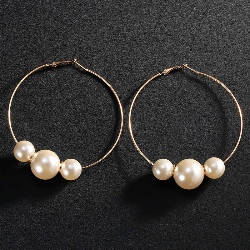 High-Polished Pearl Hoop Earring. Gold/Silver - Trinket Fascinations Jewelry