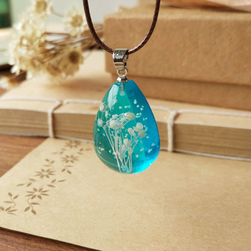 Handmade Natural Gypsophila Dried Flowers Luminous Necklace Pendant - Trinket Fascinations Jewelry