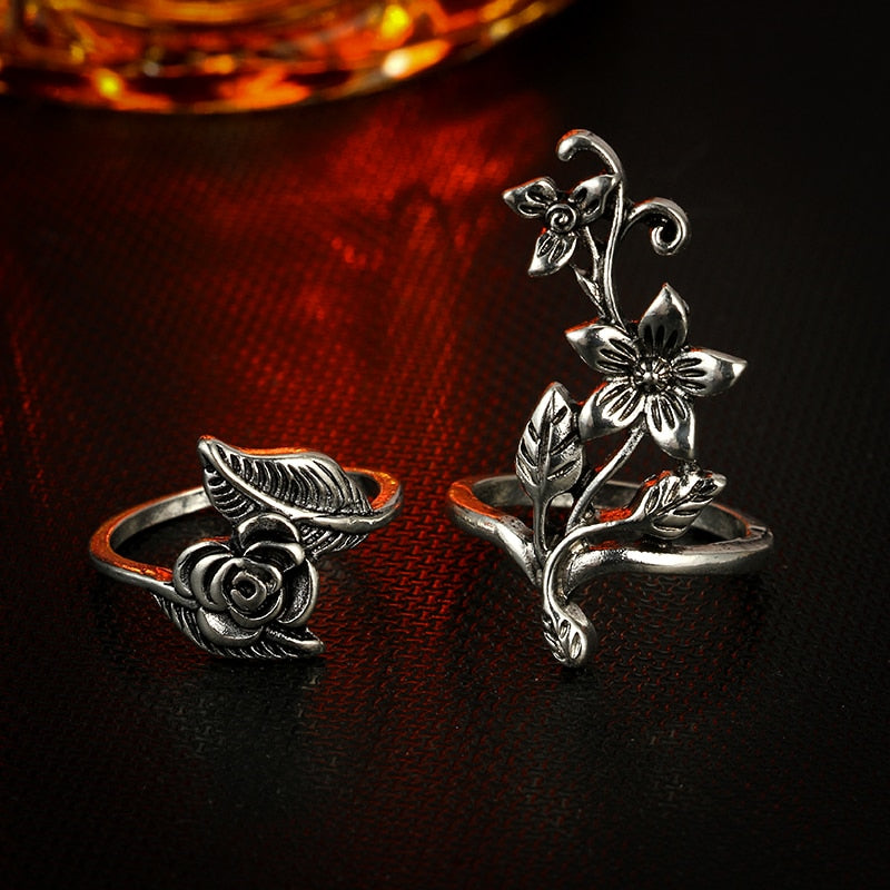 Vintage Rose Flower Rings set Bohemian