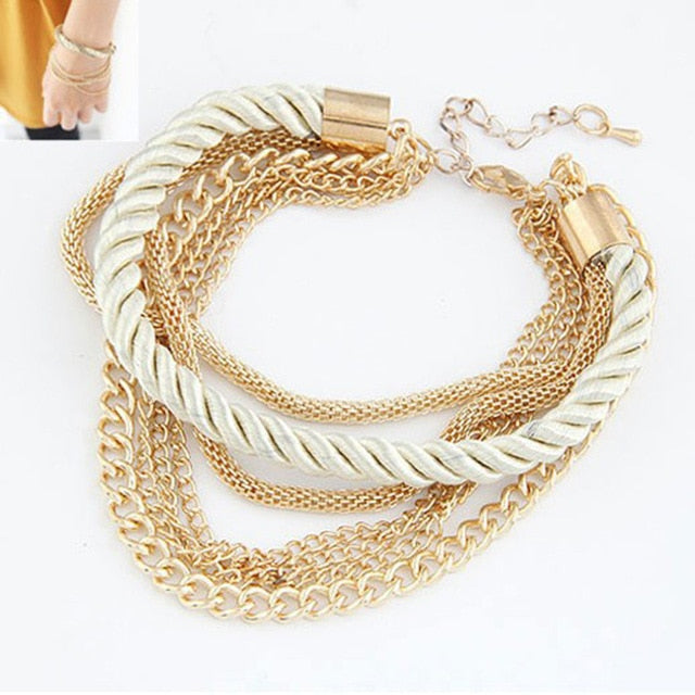 Multi-layer Braided Bracelet Metal Chain. 6 Colors. - Trinket Fascinations Jewelry