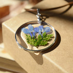 Real Natural Dried Flower Round Glass Pendant Necklace - Trinket Fascinations Jewelry