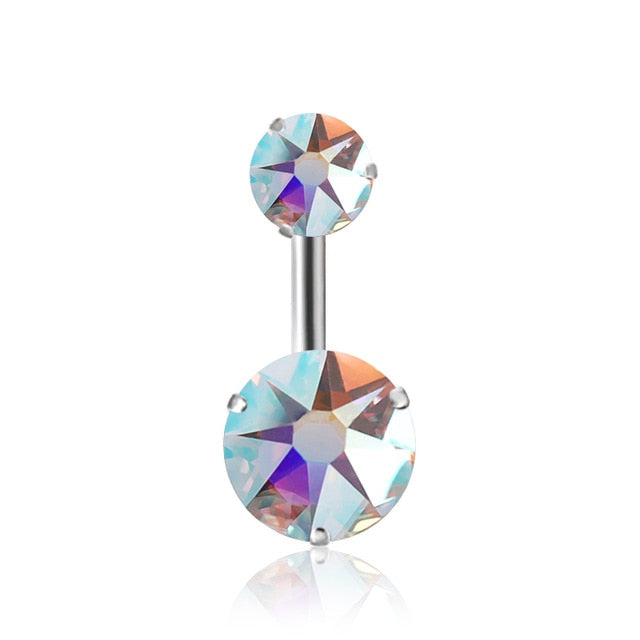 Crystal Zirconia Belly Button Ring. Available in 12 colors - Trinket Fascinations Jewelry