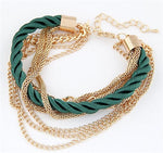 Multilayer Gold Chain, Handwoven Rope Bracelet - 6 Colours - Trinket Fascinations Jewelry