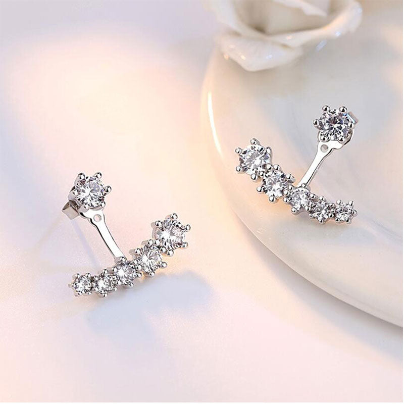 925 Sterling Silver Six Claw Zirconia Double Sided Stud Earrings