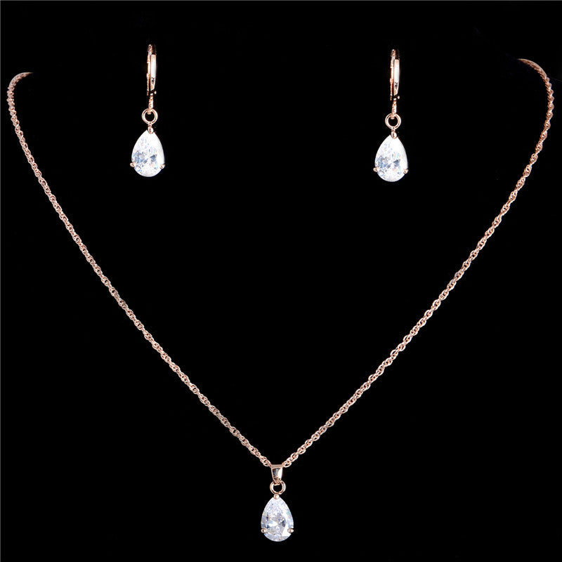 Gold Filled Zirconia Crystal Waterdrop Pendant Necklace Earrings Set - Trinket Fascinations Jewelry