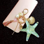 Starfish Pearl Shell Tassel Keychain - Trinket Fascinations Jewelry