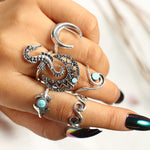 Bohemian Silver Moon Seahorse Finger Ring Set. 6pcs. - Trinket Fascinations Jewelry