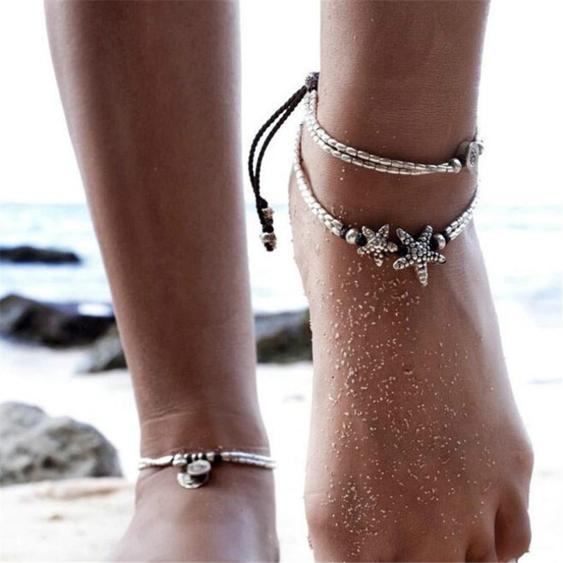 Pendant Anklet Starfish Charm Double Acrylic Chain Anklet
