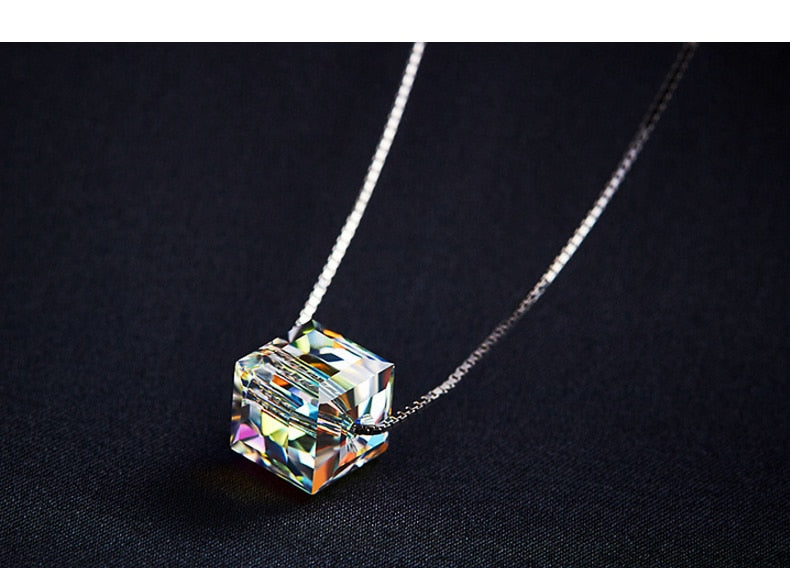 Swarovski Square Crystal Pendant 925 Sterling Silver Necklace