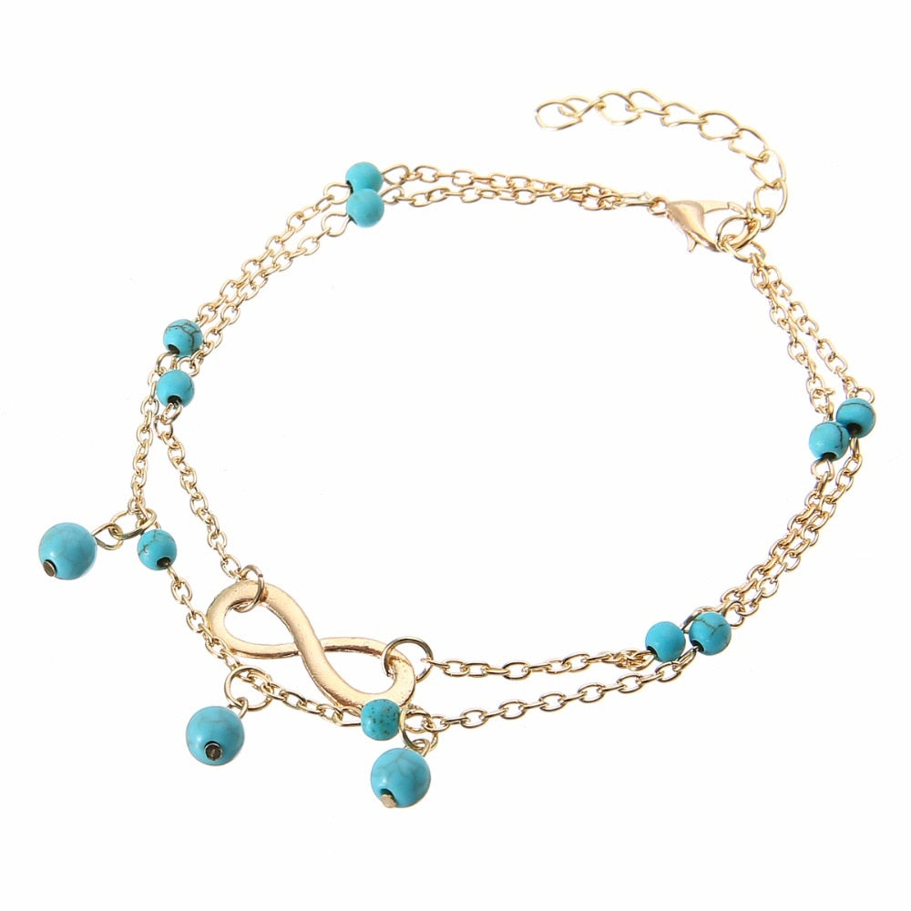 Vintage Turquoise Stone Beads Infinity Chain Handmade Gold Anklet. Available in Silver as well.