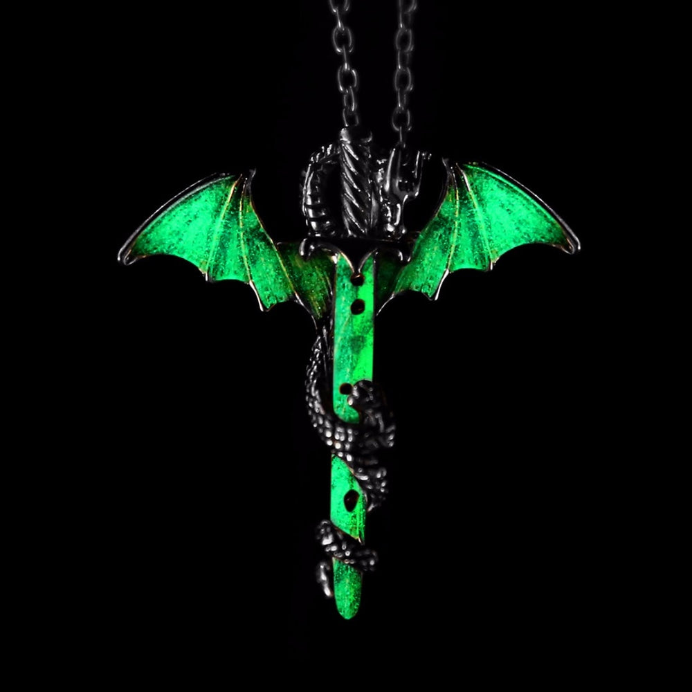 Vintage Luminous Sword Dragon Pendant Necklace - Trinket Fascinations Jewelry