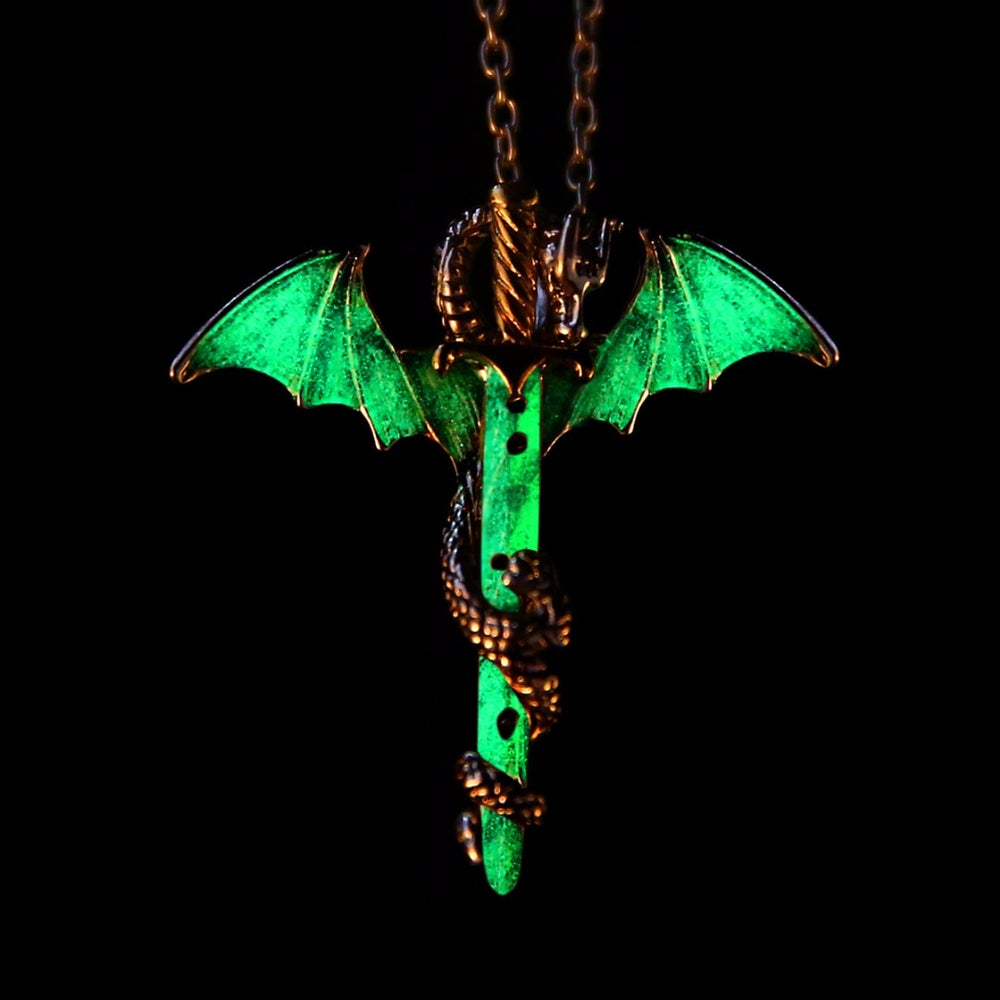 Vintage Luminous Sword Dragon Pendant Necklace