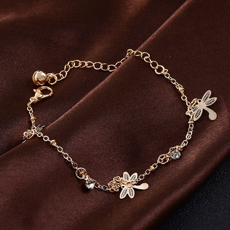 Gold Dragonfly Bracelet/Anklet - Trinket Fascinations Jewelry