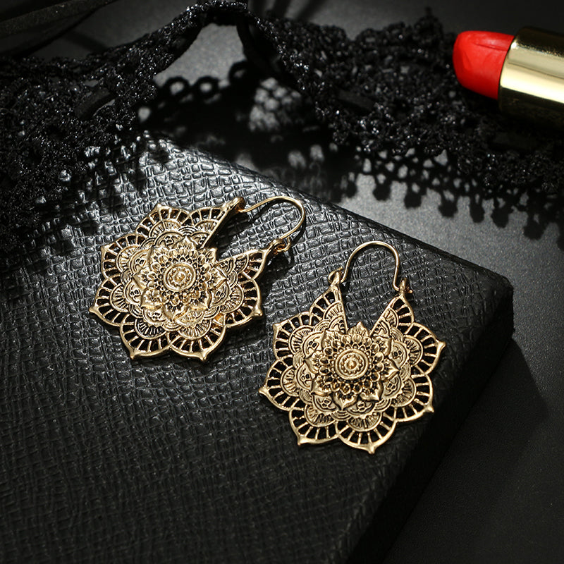 Vintage Tribal Mandala Flower Drop Dangle Earring