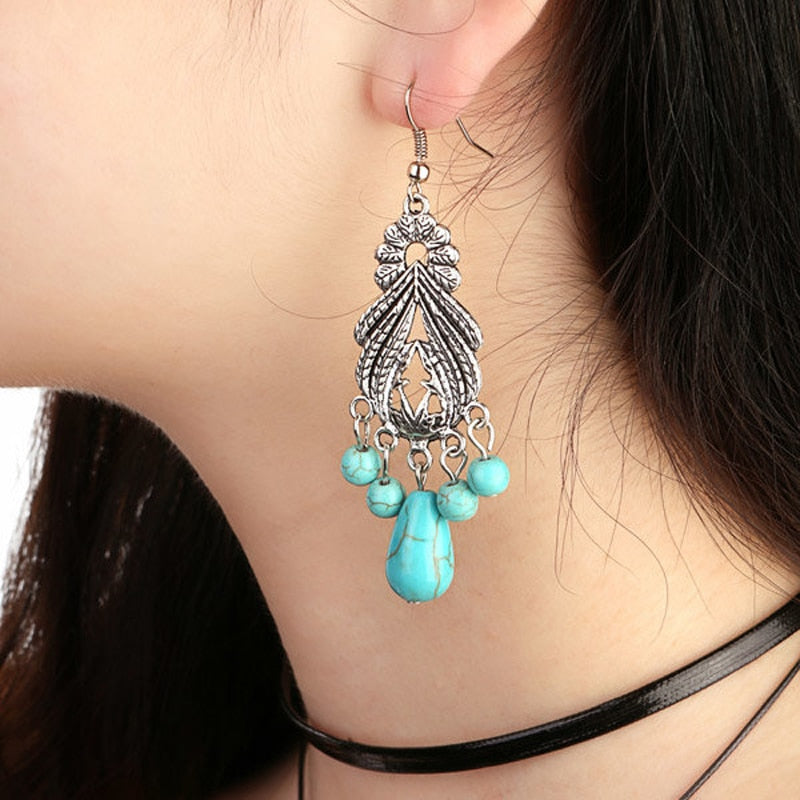Vintage Bohemian Silver-Plated Turquoise Water-drop Earrings