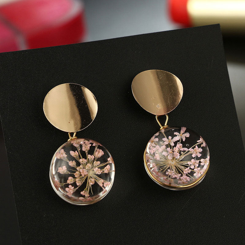 Gold Sequin Clear Transparent Ball Dangle Hanging Earrings - Trinket Fascinations Jewelry