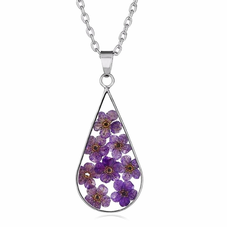 Natural Dried Flowers Resin Sliver Color Drop Pendant Necklace