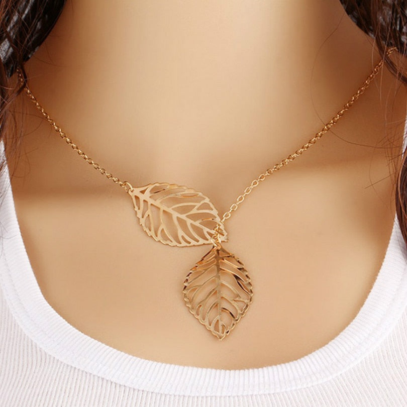 Gold And Silver Two - Leaf Pendant Necklace