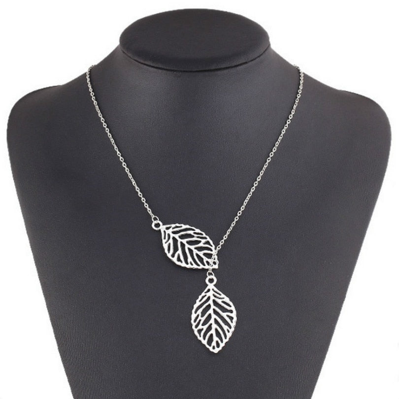 Gold And Silver Two-Leaf Pendant Necklace - Trinket Fascinations Jewelry