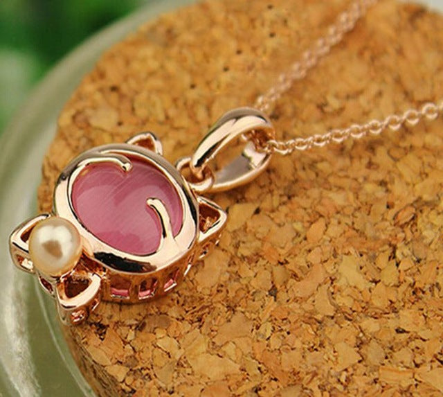Lucky Cat Bohemian Stone Pendant Pearl Necklace - Trinket Fascinations Jewelry