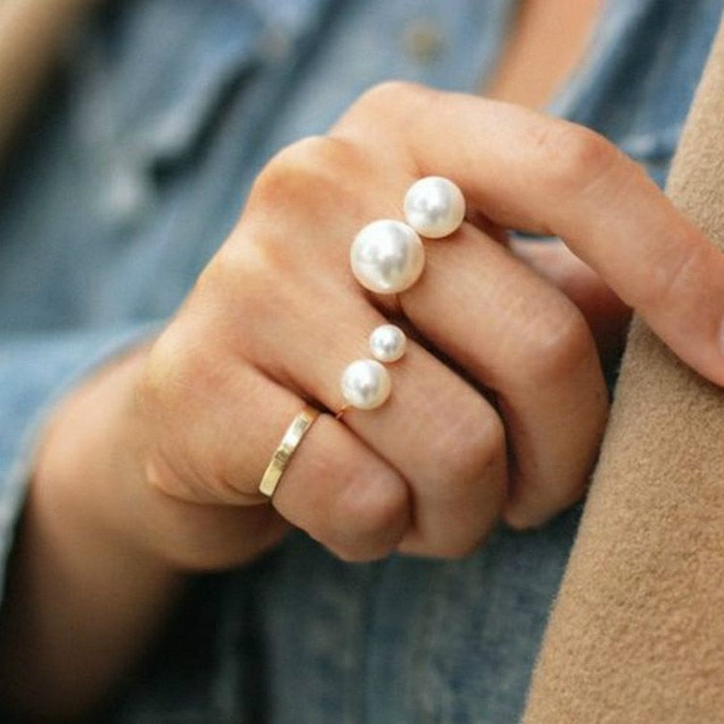 Elegant Pearl Ring Adjustable - Trinket Fascinations Jewelry