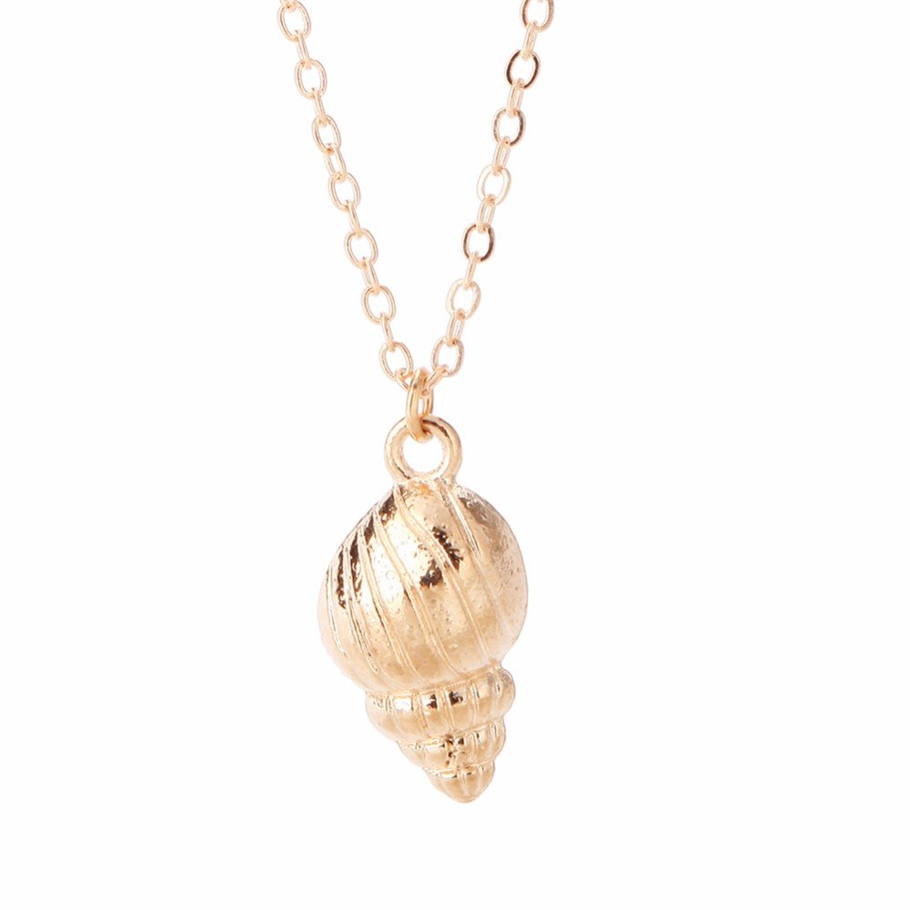 Conch Shell Multi-layered Gold Silver Chain Choker Necklace - Trinket Fascinations Jewelry