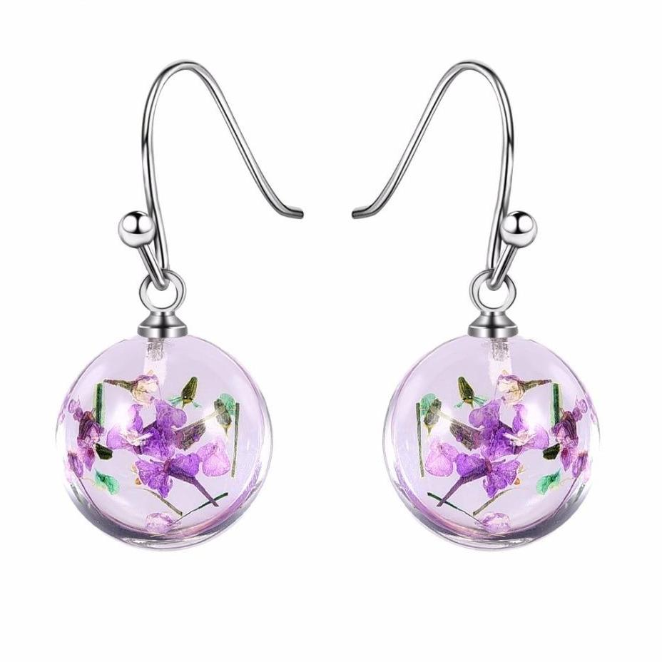 Dried Flowers Resin Drop Earrings