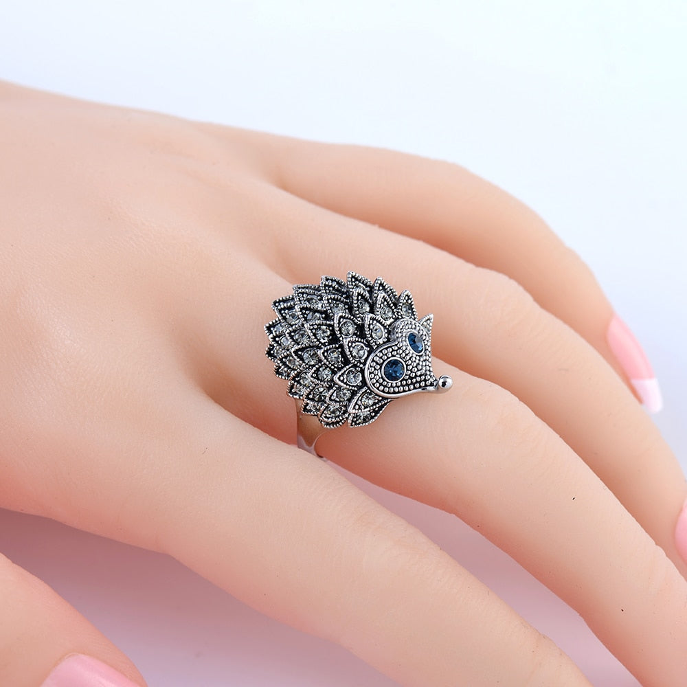 Unique Carved Antique Silver Hedgehog Ring