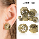 Vintage Antique Brass Ear Flesh Tunnel Plug. 1 Pair. Various Sizes - Trinket Fascinations Jewelry