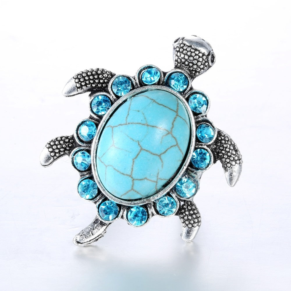 Tibetan Silver Blue Stone Crystal Tortoise Ring - Trinket Fascinations Jewelry