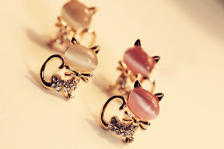 Crystal Opal Cat Bow Earrings