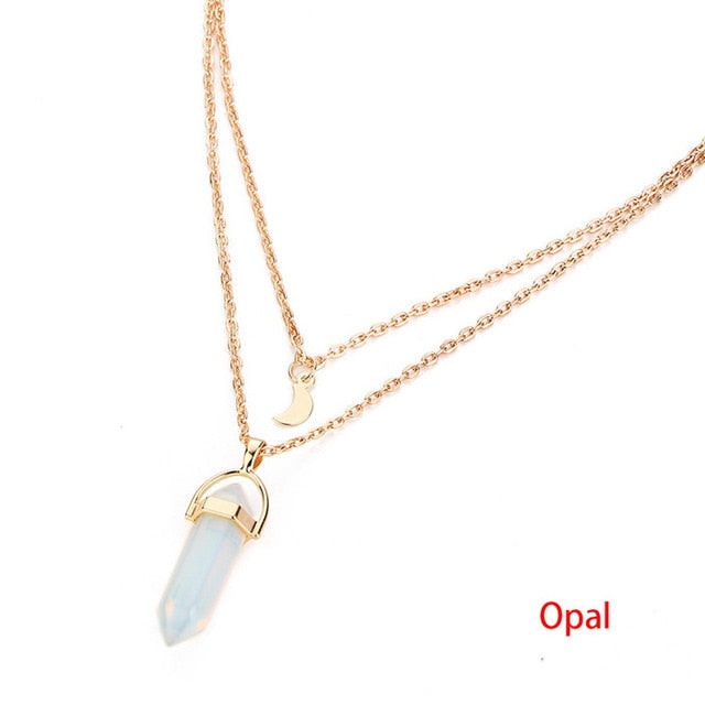 Vintage 2 Layer Natural Opal Stone Pendant Choker Necklace - Trinket Fascinations Jewelry
