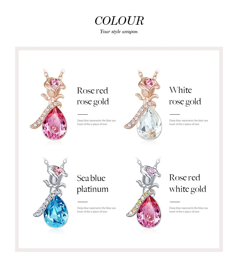 Rose Gold Necklaces Crystals from Swarovski - Trinket Fascinations Jewelry