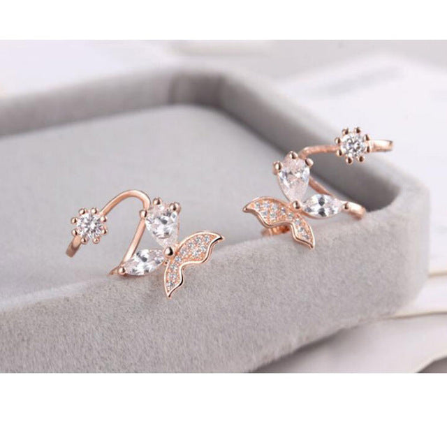 925 Sterling Silver Butterfly Shiny Zircon Stud Earrings - Trinket Fascinations Jewelry