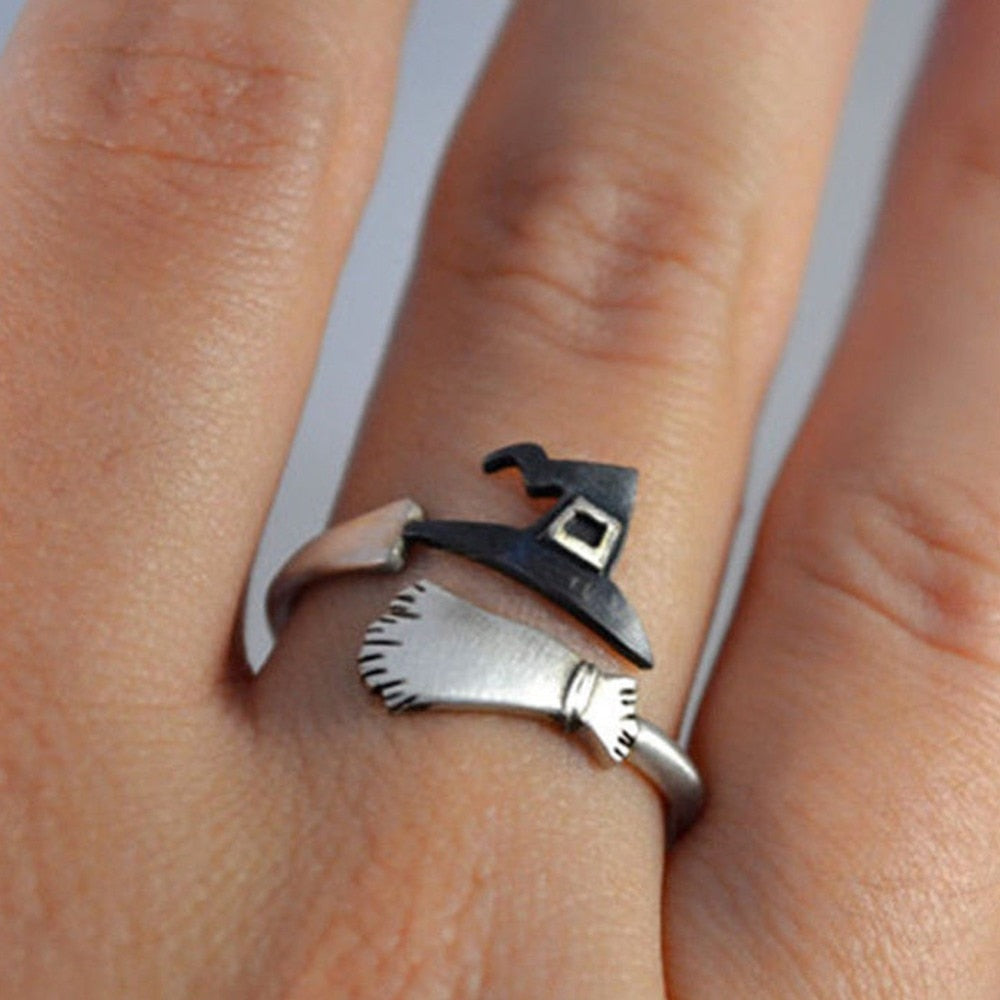 Cute Halloween Witch Hats Broom Ring - Trinket Fascinations Jewelry