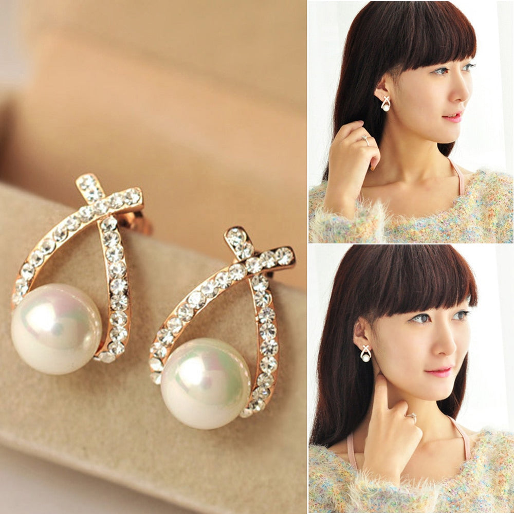 Cute Elegant Pearl Stud Earrings Korean Earrings - Trinket Fascinations Jewelry