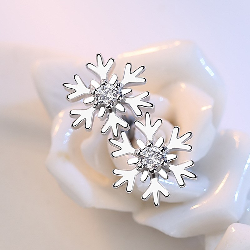 Crystal Snowflake Stud Earrings - Trinket Fascinations Jewelry
