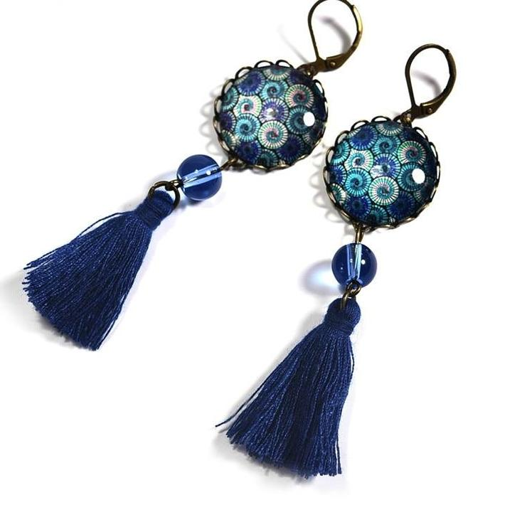 Vintage Bohemian Pendant Blue Tassel Ethnic Style Glass Cabochon Floral Print Earrings - Trinket Fascinations Jewelry