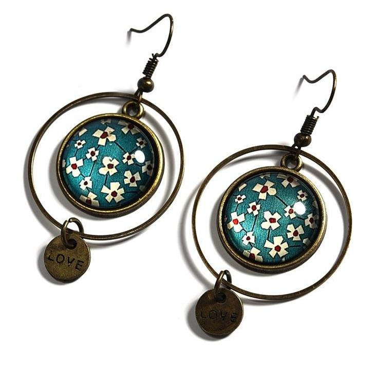 Vintage Ethnic Style Pendant Floral Print Glass Cabochon Dangle Earrings
