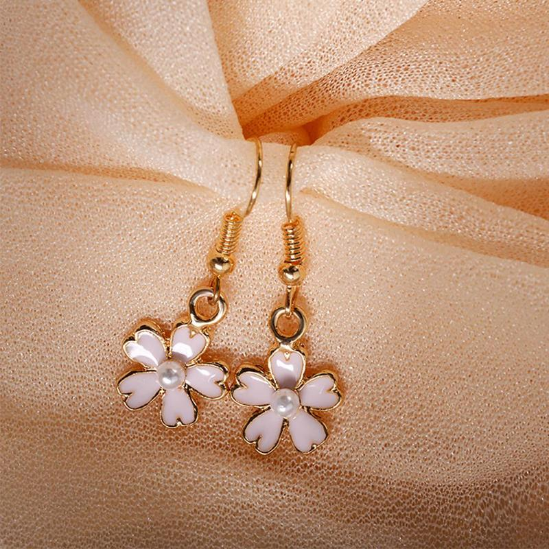 Flower Pearl Drop Earrings - Trinket Fascinations Jewelry
