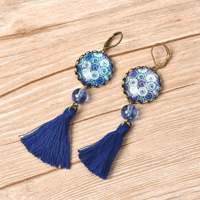 Bohemian Vintage Tassel Pendant Glass Cabochon Dangle Earrings. Available in 4 colors. - Trinket Fascinations Jewelry