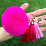 Tassel Rabbit Fur Fuzzy Ball Pompom Big Bag Charm Key Ring
