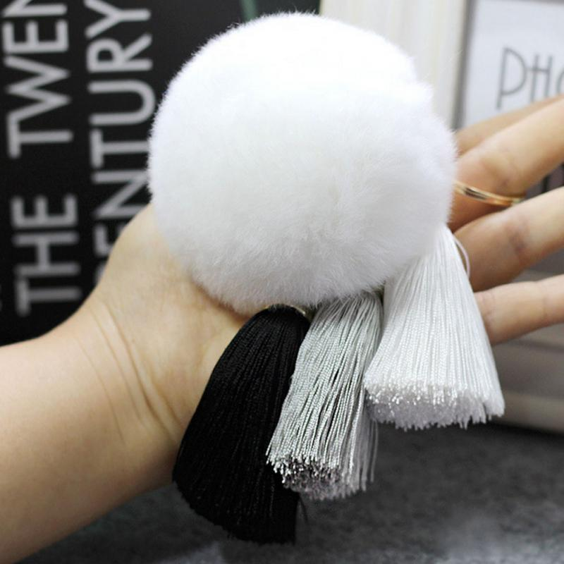 Tassel Rabbit Fur Fuzzy Ball Pompom Big Bag Charm Key Ring - Trinket Fascinations Jewelry