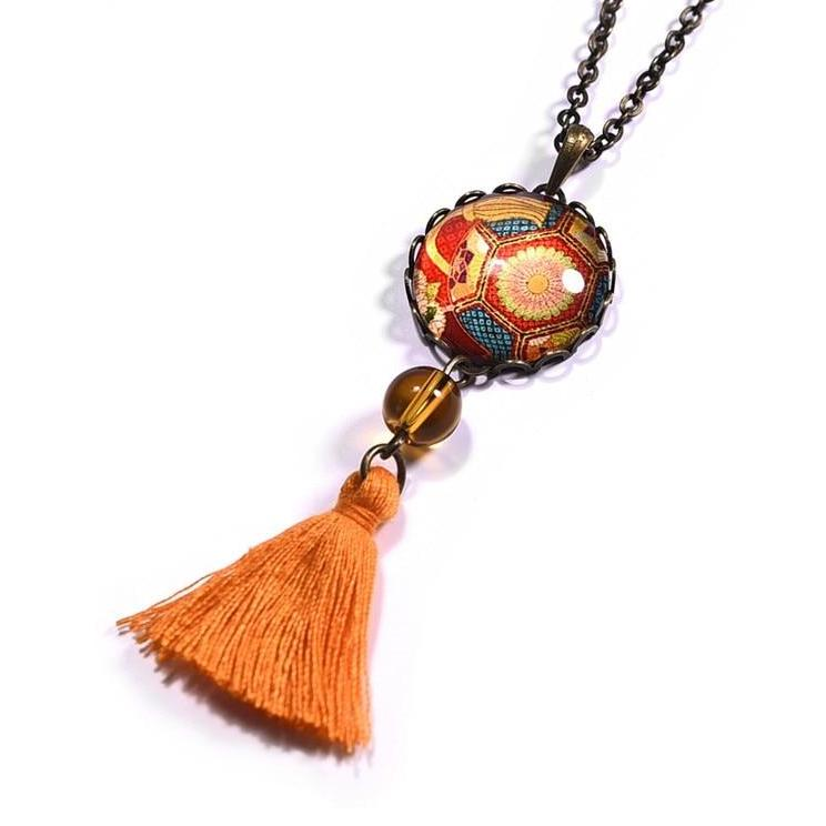 Bohemian Vintage Tassel Pendant Orange Color Glass Cabochon Dangle Necklace Women Jewelry - Trinket Fascinations Jewelry