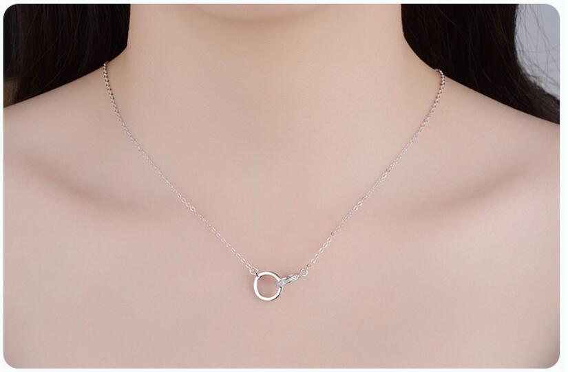 925 Sterling Silver Double Circle Zirconia Necklaces