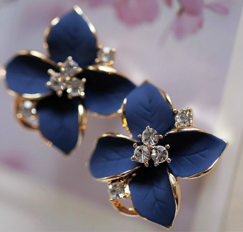 Elegant Matte Ear Clip-back Flower Earrings