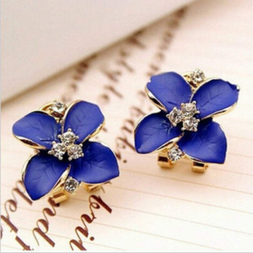 Elegant Matte Ear Clip-back Flower Earrings - Trinket Fascinations Jewelry
