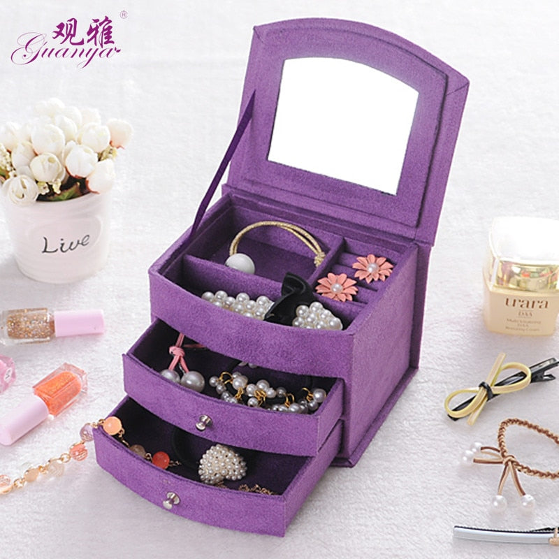 High Quality Velvet Three Layers Portable Multi-functional Jewelry Boxes