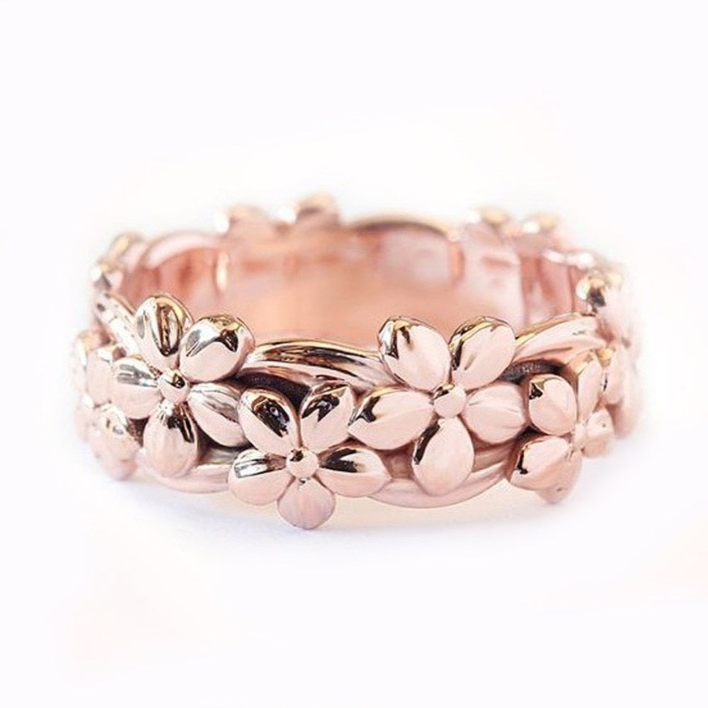 Rose Gold Daisy Plum Blossom Cherry Flower Ring