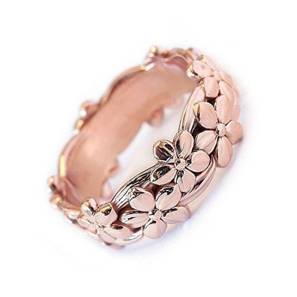 Rose Gold Daisy Plum Blossom Cherry Flower Ring - Trinket Fascinations Jewelry